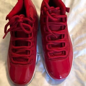 Red patent leather 13s Jordan's size 7.5
